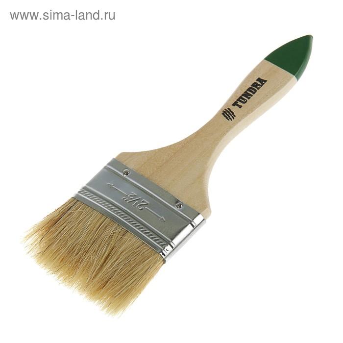 """Кисть плоская TUNDRA basic, натуральная щетина, деревянная ручка 2,5"""" (63 мм)"""