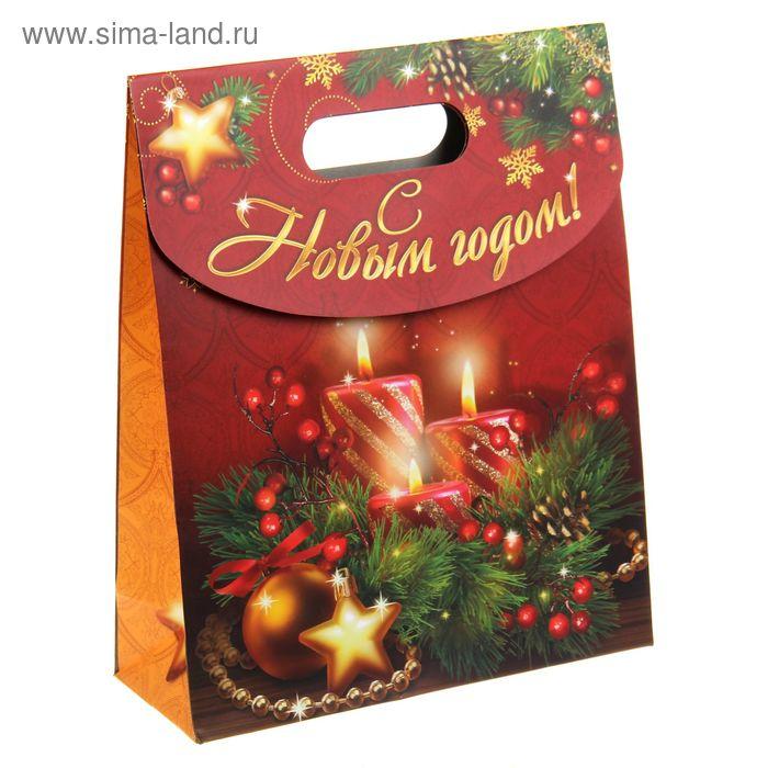 """Пакет с клапаном """"Новогодние свечи"""""""