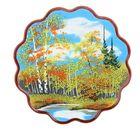 """Картина Осень"""" фанера круглая с каменной крошкой  D-24,5 см №3-2 151108"""
