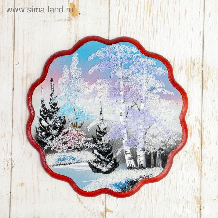 """Картина """"Зима"""" круглая, каменная крошка"""