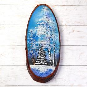 "Картина ""Зима"" в форме среза дерева 45х25х2 см каменная крошка"