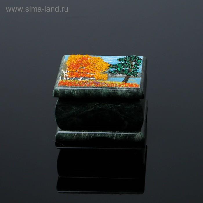 """Шкатулка """"Осень"""" с рисованной крышкой 8,5х8,5 см"""
