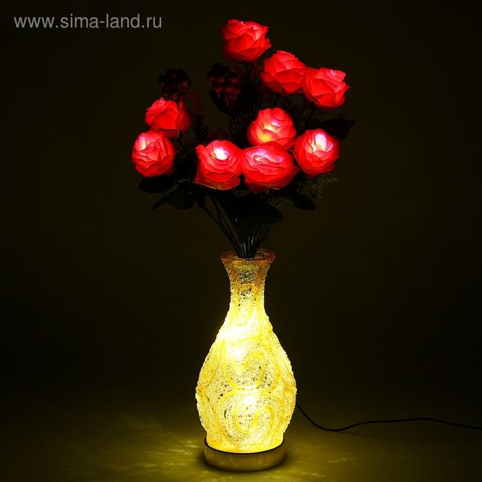 """Светодиодная ваза 64х16 см, """"Розы"""" 10 LED, от USB и 220V, фиксин, ЖЕЛТЫЙ"""