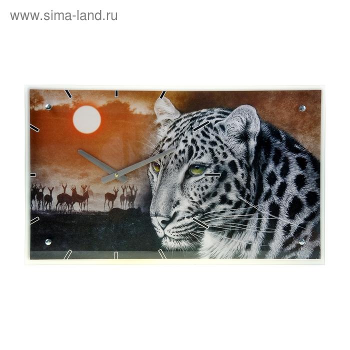 """Часы настенные прямоугольные """"Леопард и антилопы"""", 35х60 см"""