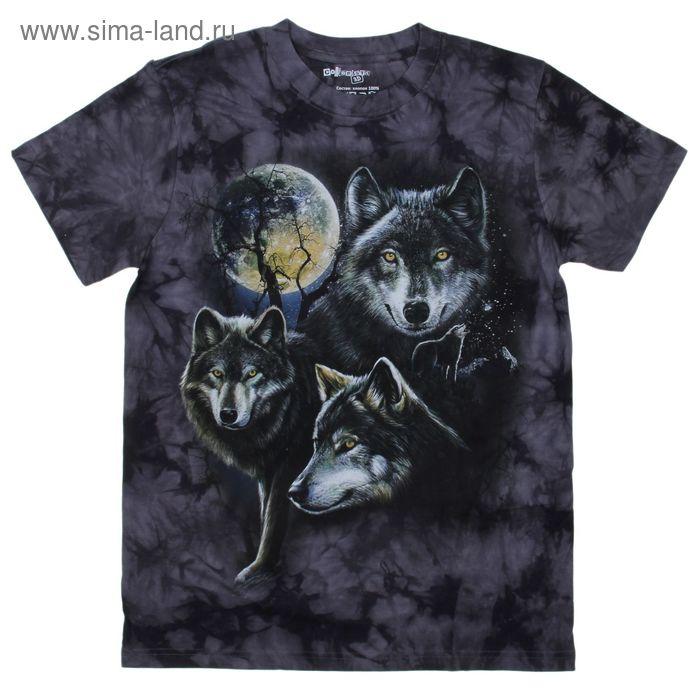 Футболка мужская Collorista 3D Wolfs Moon, размер XXL (52), цвет серый