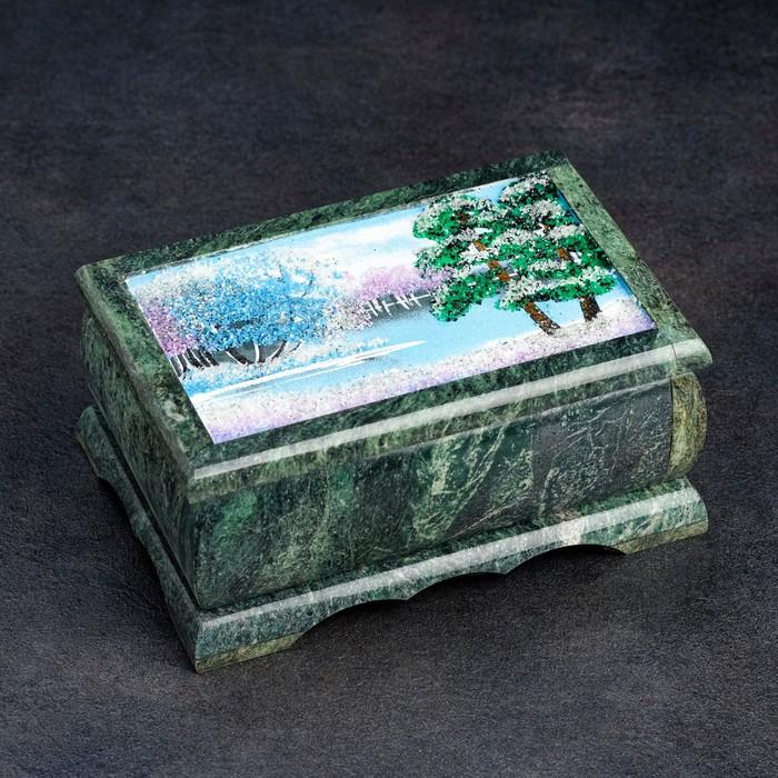 """Шкатулка """"Зима"""" из камня, каменная крошка"""