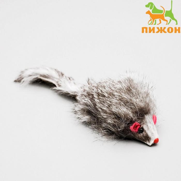 Мышь из натурального меха, 7 см, темно-серая