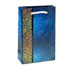 """Пакет подарочный """"Фон кружева синий"""" 11,5х17,5х5 см"""