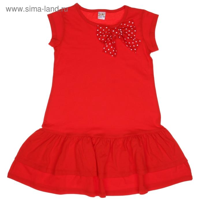 Платье для девочки короткий рукав, рост 134-140, цвет красный/горох AZ-745
