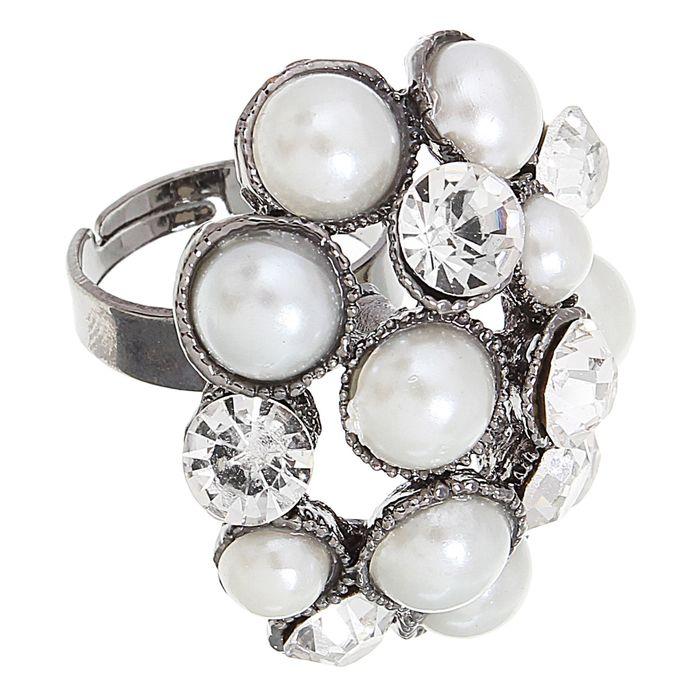"""Кольцо """"Жемчужный шик"""", цвет серебро, безразмерное"""