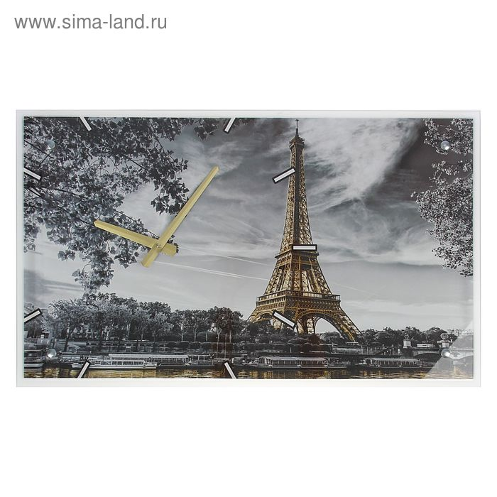 """Часы настенные прямоугольные """"Эйфелева башня, Париж"""", 35х60 см"""
