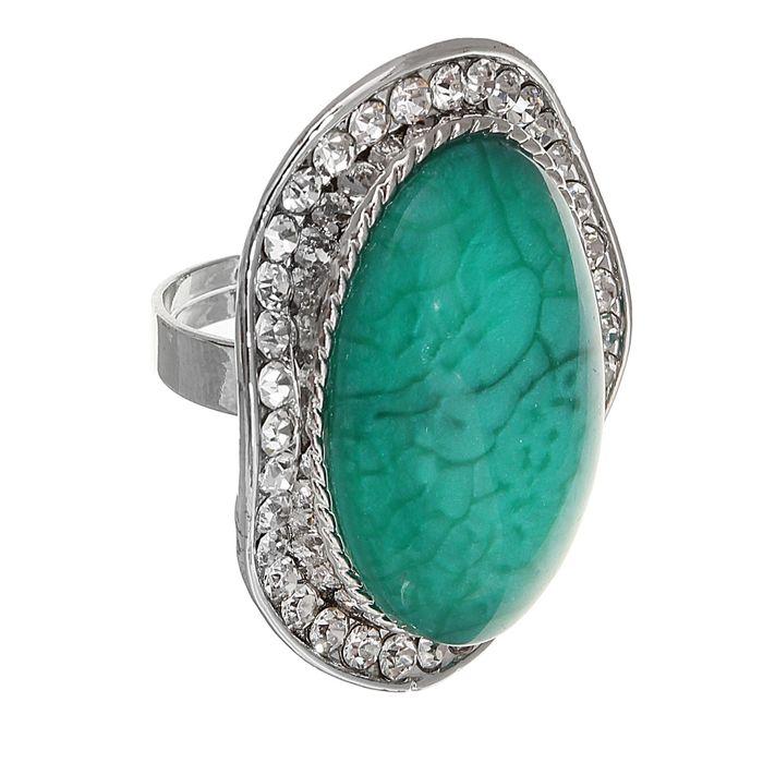 """Кольцо """"Фэшн"""" безразмерное, цвет зелёный в серебре"""