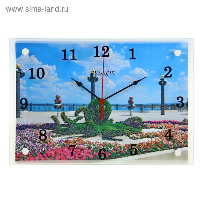 """Часы настенные прямоугольные """"Фигура осминог на набережной"""", 25х35 см"""