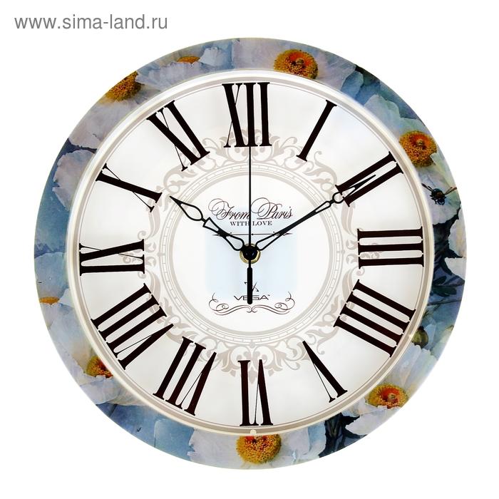 """Часы настенные круглые """"Цветы"""", с нанесение по ободу"""