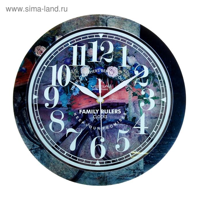 """Часы настенные круглые """"Букет"""", рисунок на ободе, 28х28 см"""