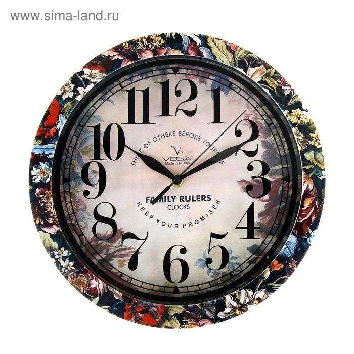 """Часы настенные круглые """"Цветы"""", рисунок на ободе, 28х28 см"""