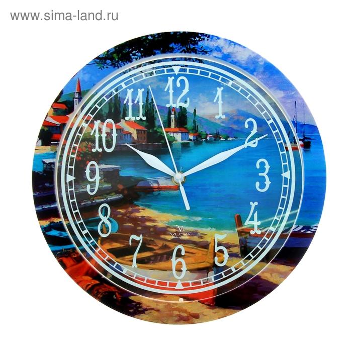 """Часы настенные круглые """"Берег моря"""", рисунок на ободе, 28х28 см"""