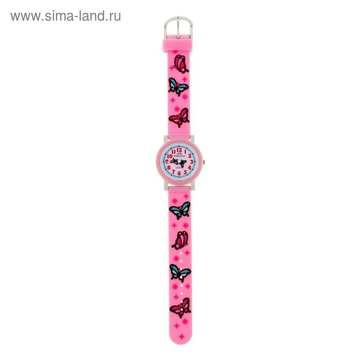 """Часы наручные """"Радуга"""", розовые,  бабочки"""