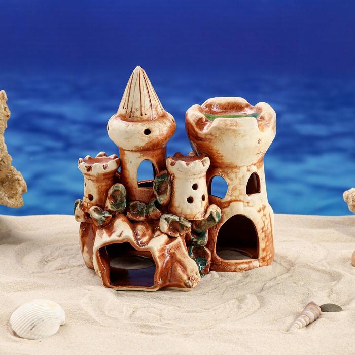 """Декорации для аквариума """"Замок с башней на скале"""" микс"""