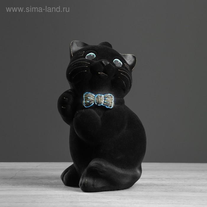 """Копилка """"Кот Пушистик"""" малая, флок, чёрная"""