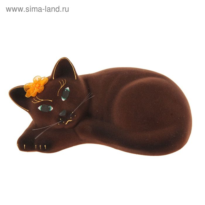 "Копилка ""Кошка Соня"" флок, коричневая"