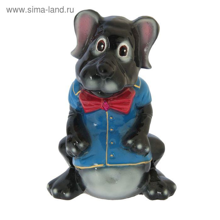 """Копилка """"Собака с бантом"""" глянец, чёрная"""