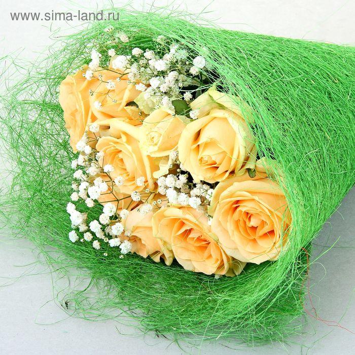 Салфетка для декора и цветов сизаль, зеленое яблоко микс, 60 х 30 см