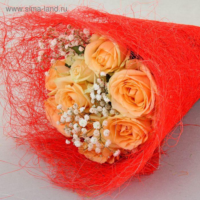 Салфетка для декора и цветов сизаль, красный, 60 х 30 см