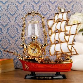"""Часы-светильник с будильником """"Корабль с коричневой кормой"""", от 220v"""