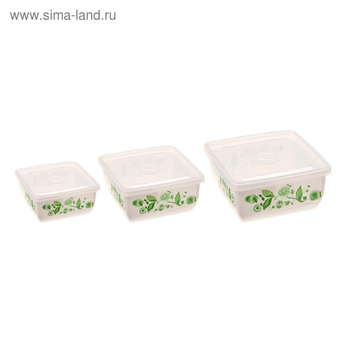 """Набор пищевых контейнеров с крышками """"Изумрудный узор"""", 3 шт: 17х8 см, 14х7 см, 12х6 см"""
