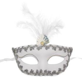 """Карнавальная маска """"Иней"""" с перьями"""