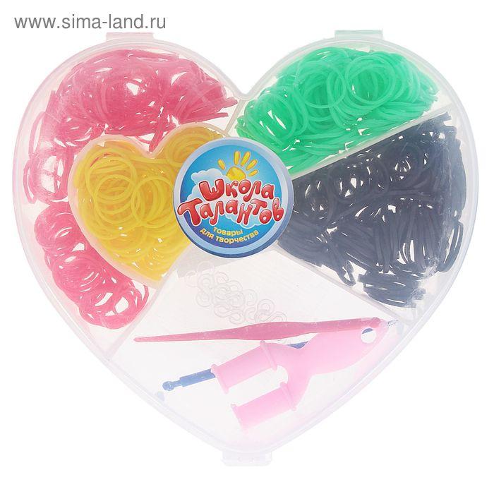 Резиночки для плетения, набор из 4-х однотонных цвета по 100 шт., пяльцы, 2 крючка, крепления, МИКС