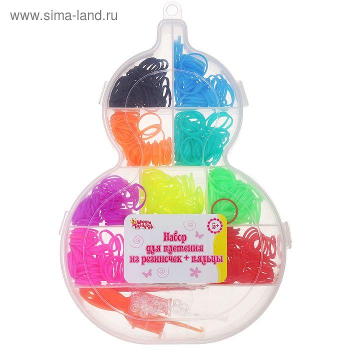 Резиночки для плетения, набор из 10-ти однотонных цветов по 50 шт., пяльцы, 2 крючка, крепления, МИКС
