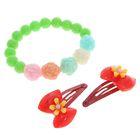 """Набор детский """"Выбражулька"""" 3 предмета: 2 заколки, браслет, цветочный сад, цвет МИКС"""