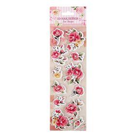 """Наклейка для декора 3D """"Розовые розы"""" с клейкой лентой"""