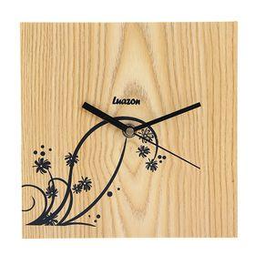 Часы настенные квадратные 'Серия Дерево. Чёрные цветы', 20,5 × 20,5 см, на циферблате цветочки, светлое дерево Ош