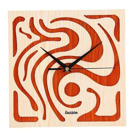 Часы настенные квадратные 'Серия Дерево. Орнамент', 25,5 × 25,5 см, на циферблате узоры, оранжево-бежевые Ош