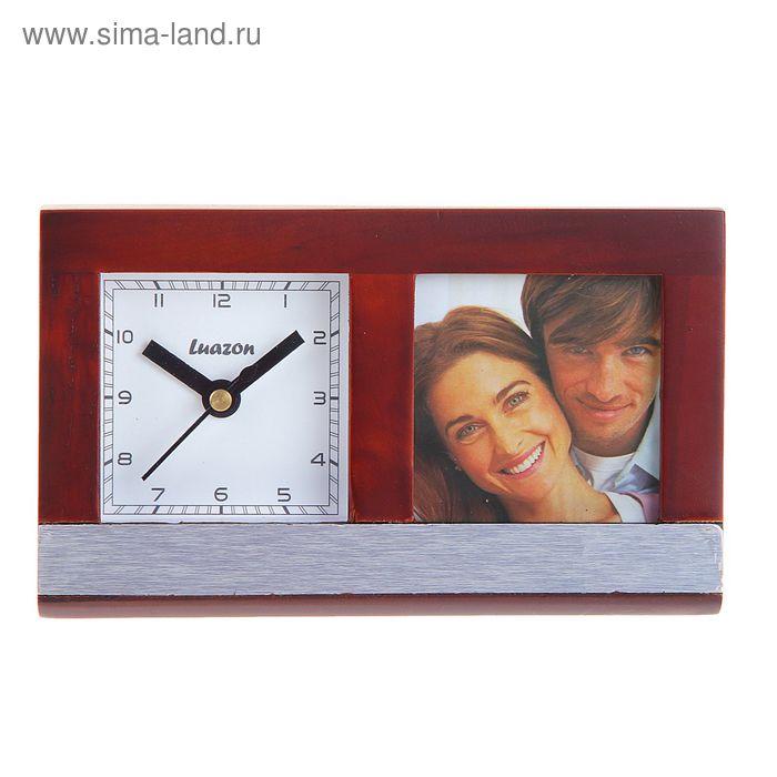 Часы настольные серии Дерево, прямоугольные с фоторамкой (5х5), 20,5*16см сосна