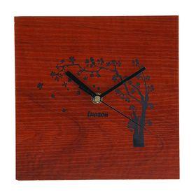 Часы настенные квадратные 'Серия Дерево. Ветерок', 20,5 × 20,5 см, на циферблате цветущяя сакура, красное дерево Ош