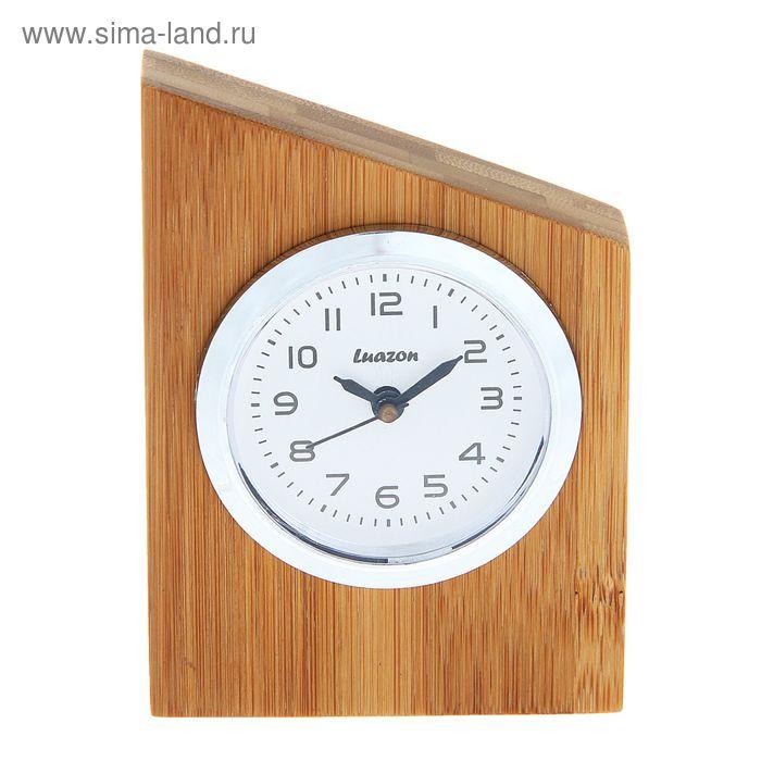 Часы настольные серии Дерево. Прямоугольник с острым углом 7*10,8см бамбук
