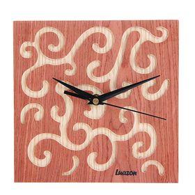 Часы настенные квадратные 'Серия Дерево. Фантазийные', 20,5 × 20,5 см, на циферблате узоры, персиковые Ош