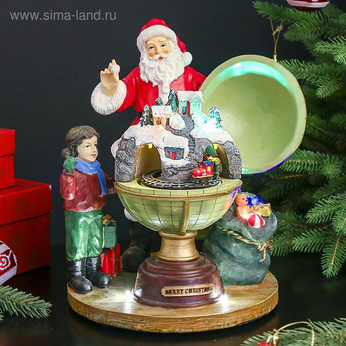 """Сувенир """"Дед мороз у глобуса с городком"""" музык., световой, движущийся"""