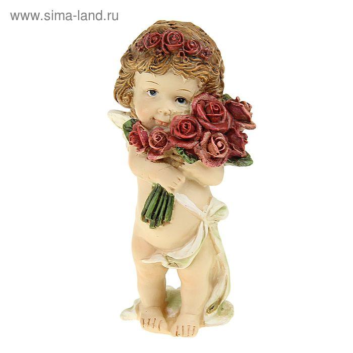 """Сувенир """"Ангелочек малыш с розами/сердцем"""" МИКС"""