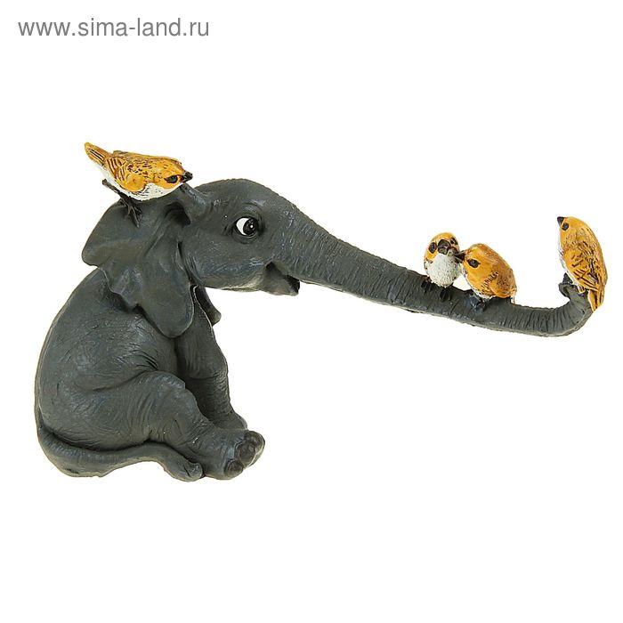 """Сувенир - миниатюра """"Слоненок с птичками"""""""