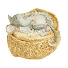 """Сувенир - миниатюра """"Сытый мышонок в мешке с крупой"""""""