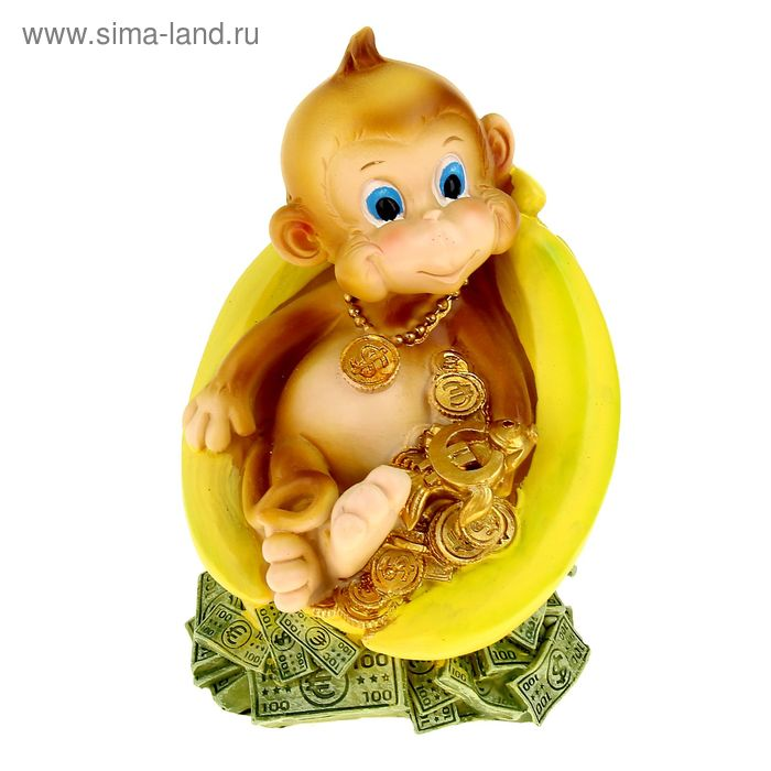 "Копилка полистоун ""Обезьянка на бананах с деньгами"" МИКС, 15,5х11,8х10,3 см"
