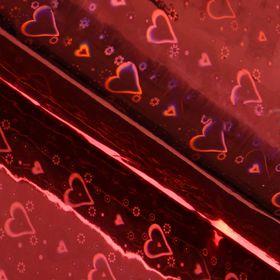 Бумага голографическая, цвет красный, 70 х 100 см, рисунок МИКС
