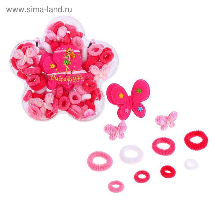 """Набор для волос """"Выбражулька"""" розовый цветок (82 шт.)"""