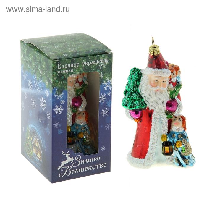 """Ёлочная игрушка """"Дед Мороз с ёлочкой и детьми"""""""