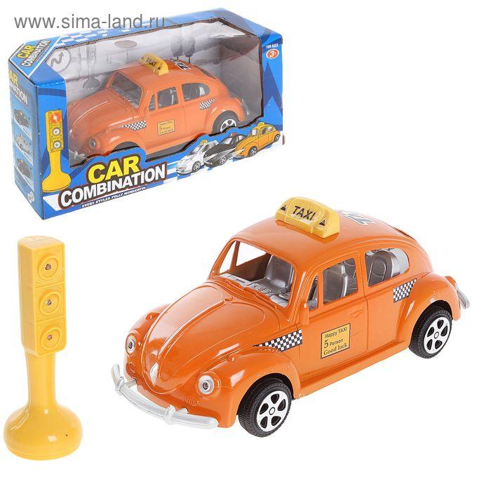"""Машина инерционная """"Такси"""", со светофором, световые эффекты МИКС"""